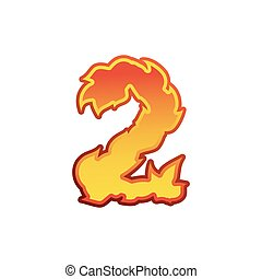 Number 2 fire. Flames Font two. Tattoo alphabet character. fiery sign ABC