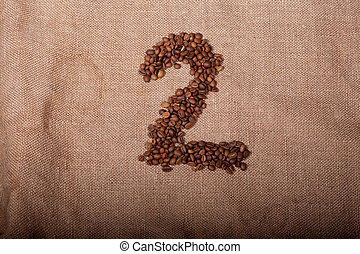 Number 2 from coffee beans