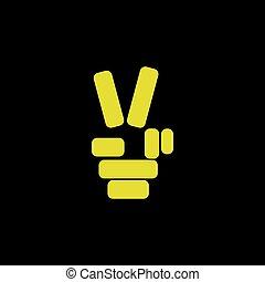 number 2 hand gesture logo vector