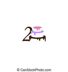 Number 2 icon with wedding cake  design template vector