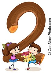 Number 2 - Illustration of number two with a boy and a girl