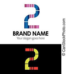 Number 2 logo company vector design