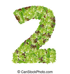 Number 2 made from hydroponics leaf vegetable isolated on white background
