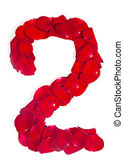 number 2 made from red petals rose on white