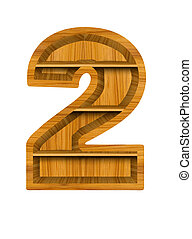 Number 2 made from wooden
