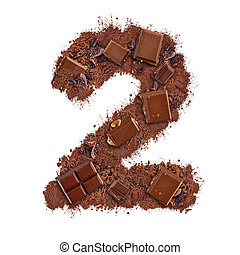 Number 2 made of chocolate bar