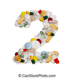 Number 2 made of pills