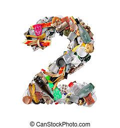 Number 2 made of trash