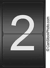 Number 2 on a mechanical leter indicator - Illustration of a...