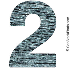 number 2 on wooden background with blue tone