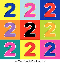 Number 2 sign design template elements. Vector. Pop-art style colorful icons set with 3 colors.