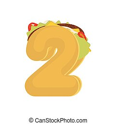 Number 2 tacos. Mexican fast food font two. Taco alphabet...