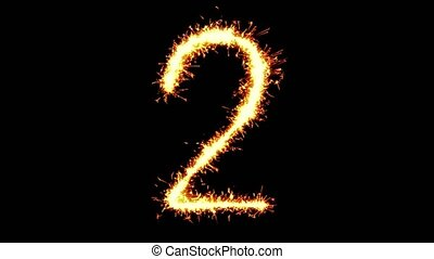 Number 2 Text Sparkler Writing With Glitter Sparks Particles Firework on Black 4K Loop Background. letter , alphabet , typography , Typeface , Font , character .