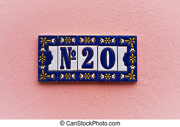 Number 20 - House number 20 on pick wall