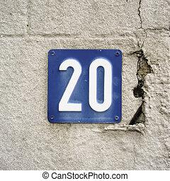 Number 20 - house number twenty embossed in a metal plate