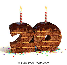 number 20 shaped chocolate cake - Chocolate birthday cake...