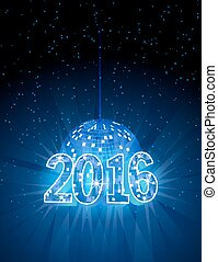 Number 2016 with disco blue ball.