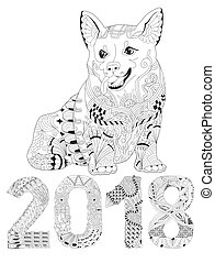 Number 2018 zentangle with dog. Vector decorative object -...