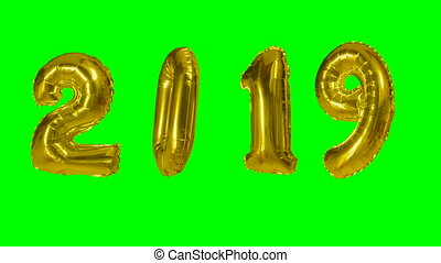 Number 2019 happy new year birthday anniversary celebration gold balloon floating on green screen background