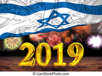 number 2019, new year, behind the flag of Israel, background fireworks