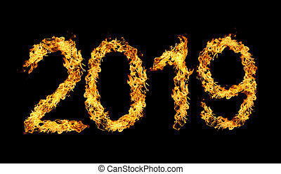 Number 2019 written by flames of fire.