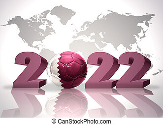 number 2020 and football ball with the national flag of qatar on a white background