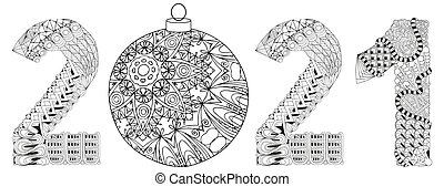 Hand-painted art design for coloring. Color hand drawn illustration. Number two thousand and twenty one zentangle object.