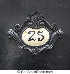 Number 25 - baroque house number twenty-five. White...