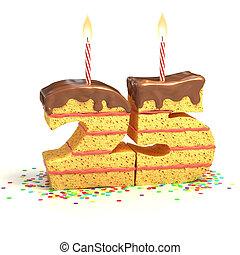 number 25 shaped cake - Chocolate birthday cake surrounded...