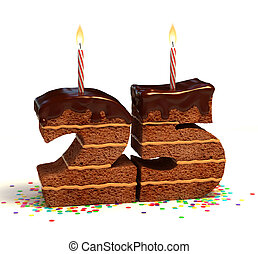 number 25 shaped chocolate cake