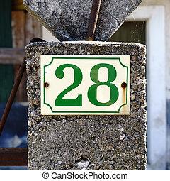 Number 28 - House number twenty eight (28).