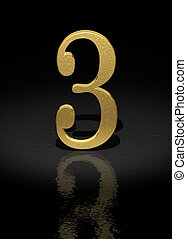 Number 3 - 3 Gold Number on black background - 3d image