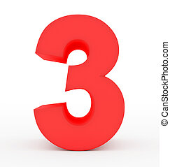 number 3 3d red isolated on white
