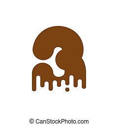 Number 3 Chocolate font. Sweetness numeral Three alphabet. Liquid lettering figure. Sweet viscous ABC sign