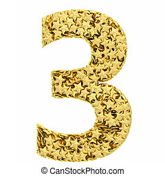 Number 3 composed of golden stars isolated on white