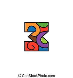 number 3 curves outline colorful logo vector