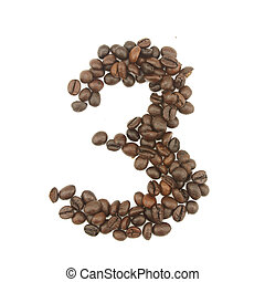 Number 3 from coffee beans