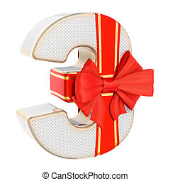 Number 3, gift box shaped of a number three with red ribbon bow. 3D rendering