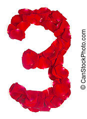 number 3 made from red petals rose on white