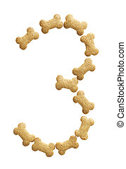 Number 3 made of bone shape dog food on white background,...