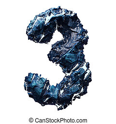 Number 3 made of ice on white background. 3d