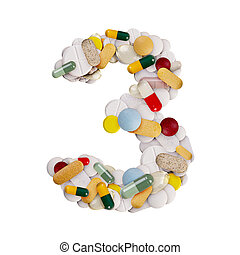 Number 3 made of pills