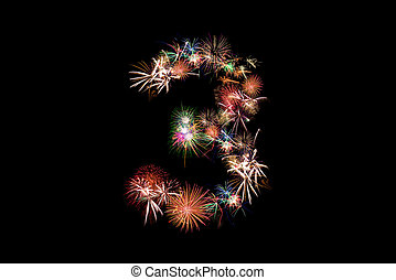Number 3. Number alphabet made of real fireworks. See other numbers in my portfolio.