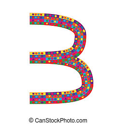 Number 3 on white background