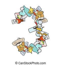 Number 3 Rubbish. Trash font three sign. garbage alphabet symbol. Lettering litter