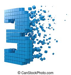 number 3 shaped data block. version with blue cubes. 3d pixel style vector illustration.