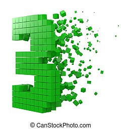number 3 shaped data block. version with green cubes. 3d pixel style vector illustration.
