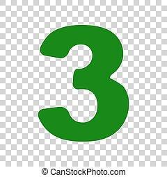 3 three green pastel gradient number numeral digit logo icon design number 3 sign design template element dark green icon on transparent background maxwellsz