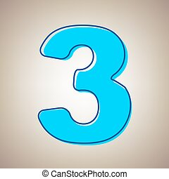 Number 6 sign design template element. vector. sky blue icon with defected  blue contour on beige background.