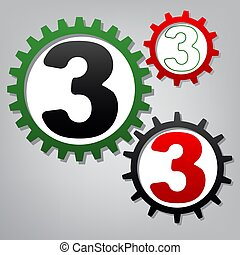 Number 3 sign design template element. Vector. Three connected g
